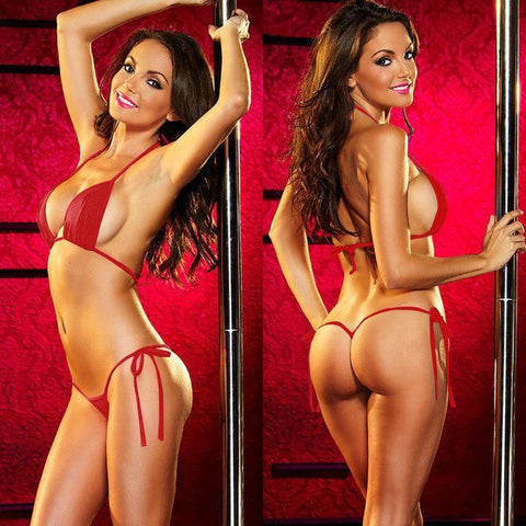 Sexy Red Women's T Back Exotic Bikini Set