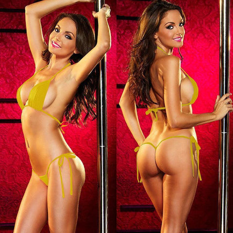 Sexy Yellow Women's T Back Exotic Bikini Set