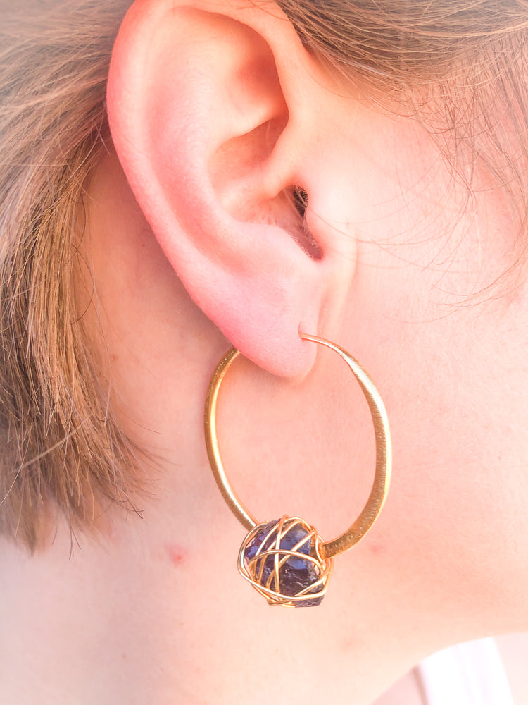 Agatha Amethyst Cabochon Hoop Earrings