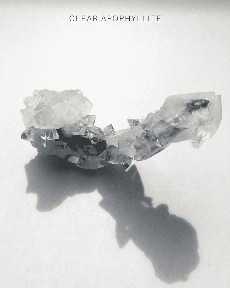 Clear Apophyllite on Black Chalcedony 2