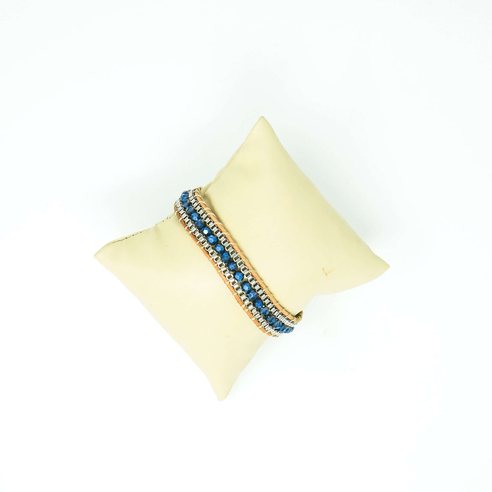 Leather Cord Unisex Navy Blue Bead Bracelet