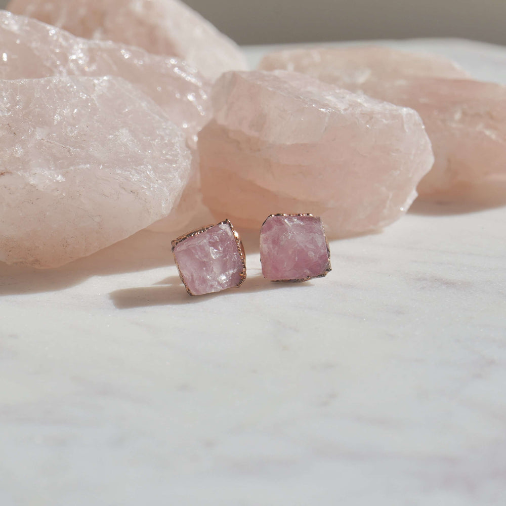 Rose Quartz Raw Crystal Jewellery Stud Earrings