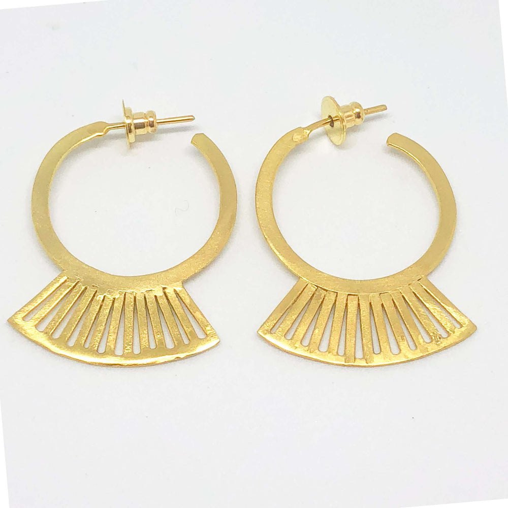 Small gold hoop Greek inspired earrings.