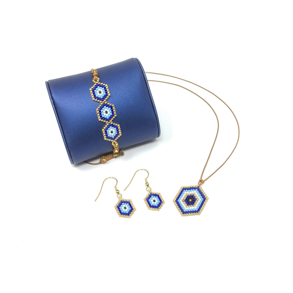 Miyuki Bead Evil Eye Set - Bracelet, Earrings and Pendant