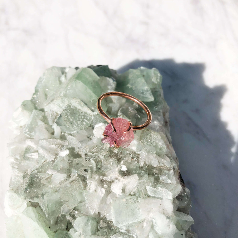 Pink Tourmaline Raw Crystal Jewellery Ring In Copper Prong Setting
