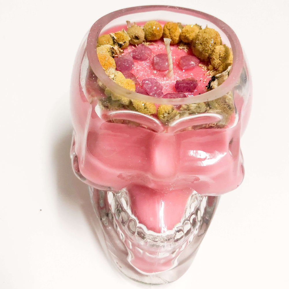 Skull Container Soy Wax Crystal Candle - Sweet Orange Scented, Flower Topped