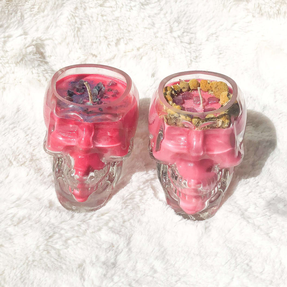 Skull Container Soy Wax Candle - Orange  Scented Crystal Candle