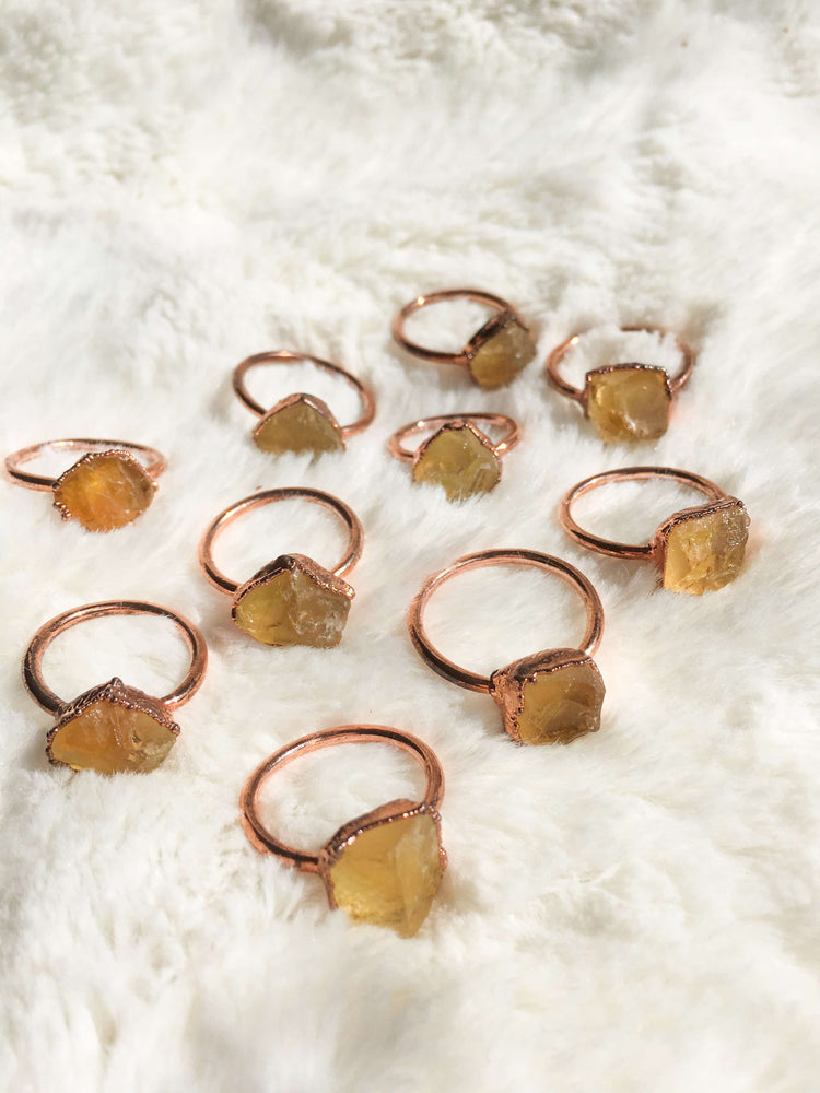Citrine Raw Crystal Jewellery Electroformed Copper Ring