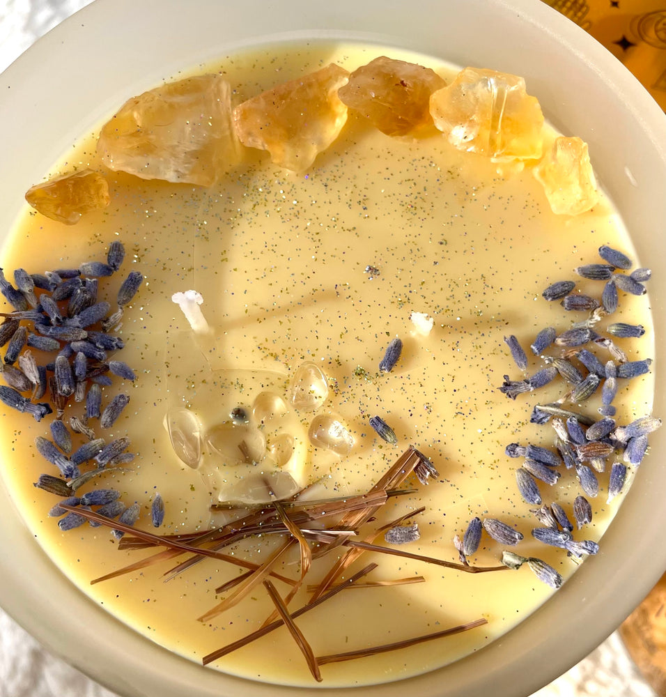 Ultimate Calm and Sleep Soy Wax Candle, Lavender, clary, sage, patchouli and rosemary / Scented Crystal Candle