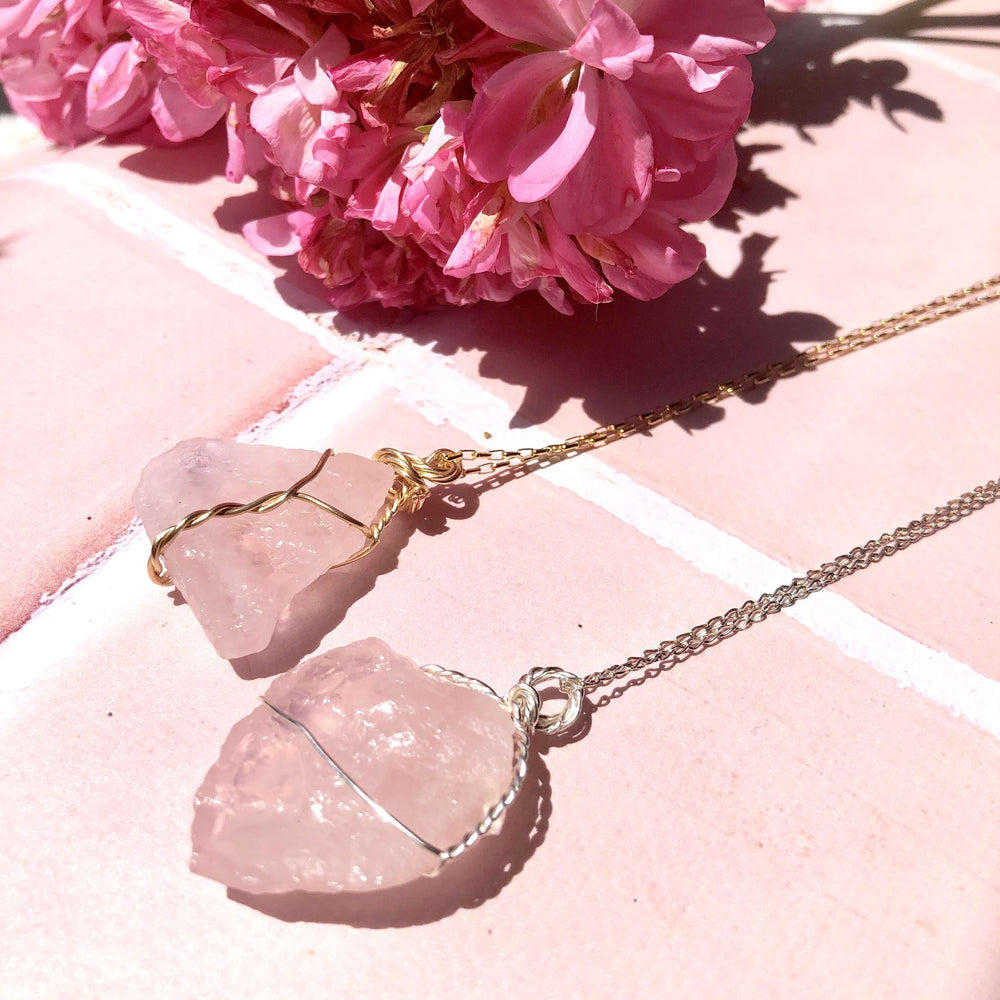 Raw Rose Quartz Pendant with Gold Filled Chain 18 Inch