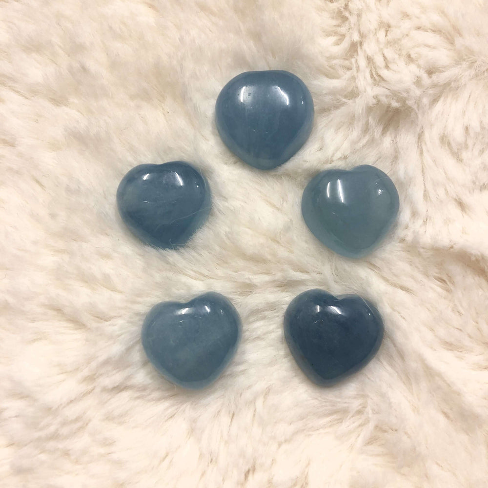 Aquamarine Mini Hearts Cabochons High Grade