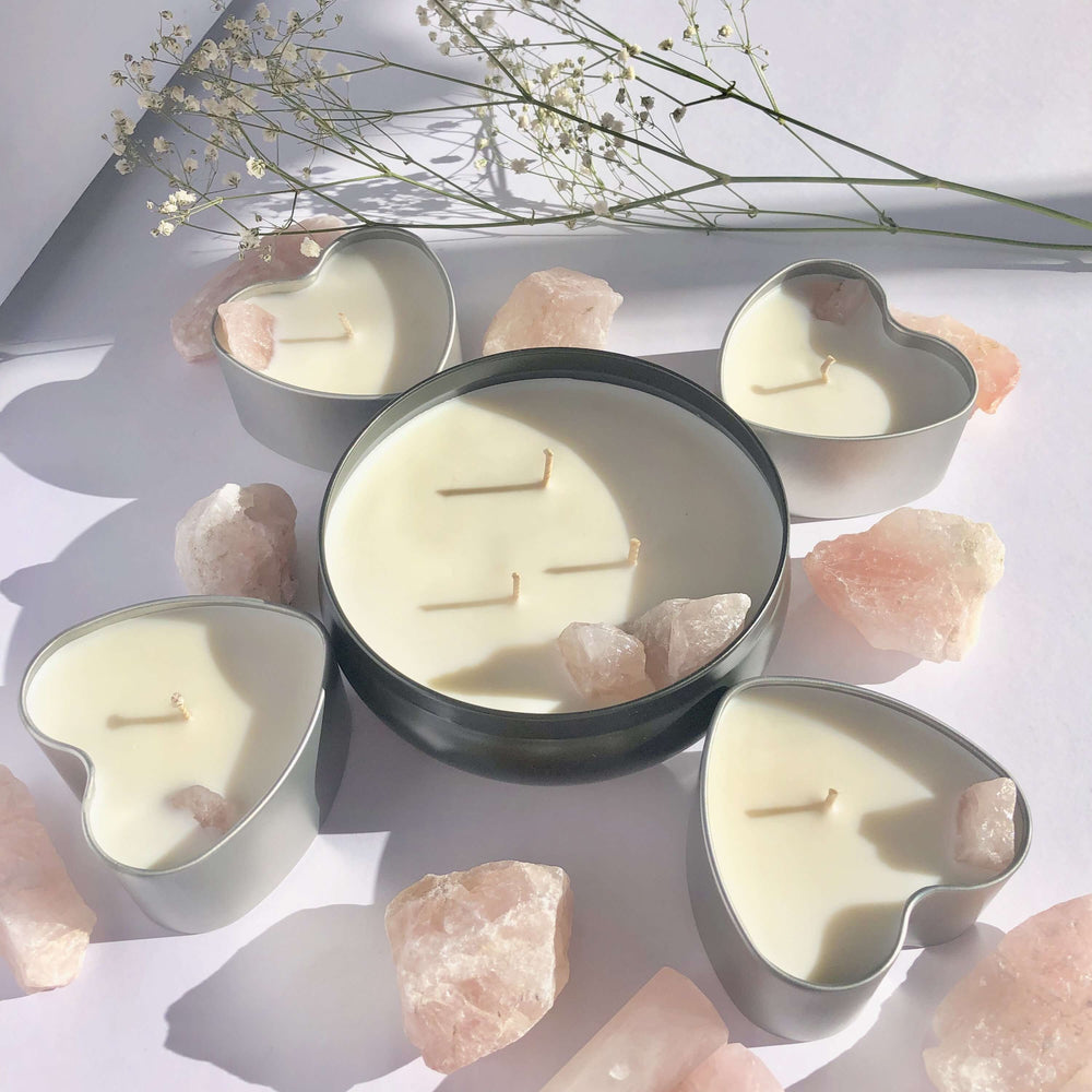 Rose Quartz Crystal Soy Candle ( British Rose)