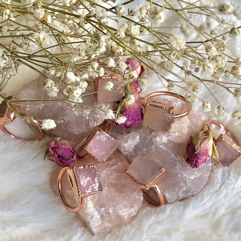 Rose Quartz Electroformed Crystal Jewellery Ring In Healing Copper