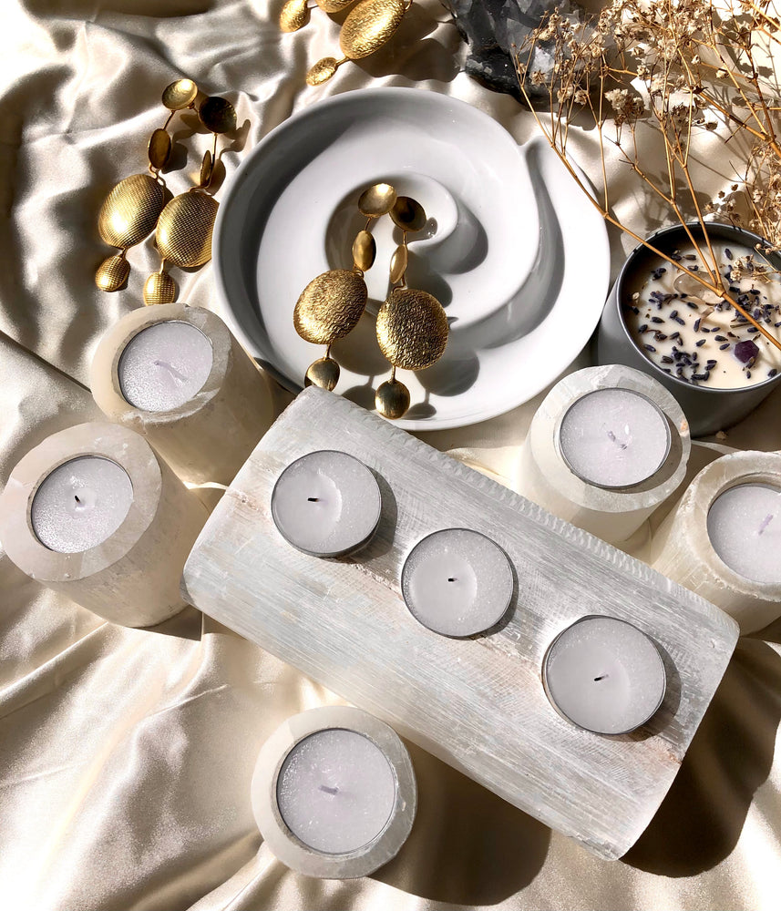 Selenite Single Tea Light Holder