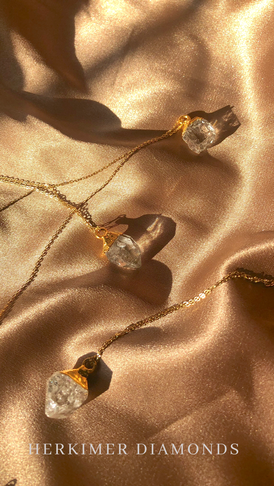 Herkimer Diamond Pendants with Gold Filled 1mm Chain