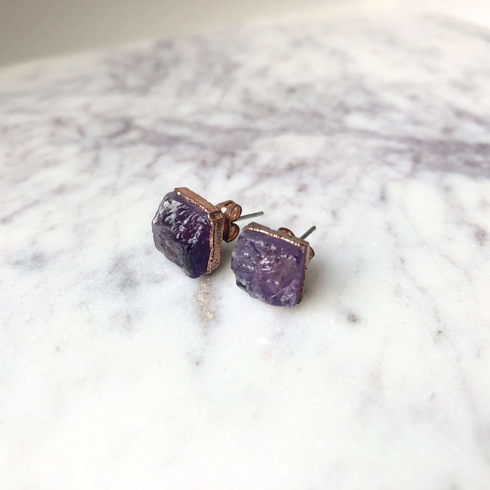 Amethyst Raw Crystal Jewellery Studs Earrings In Healing Copper - February Birthstone Earring - Pisces Zodiac Earring