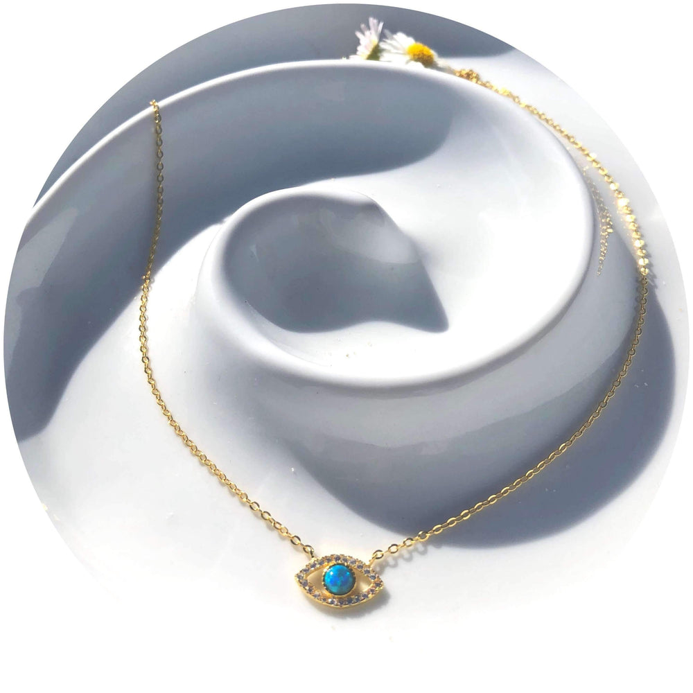 Sterling Silver Gold Plated Evil Eye Necklace With Opalite