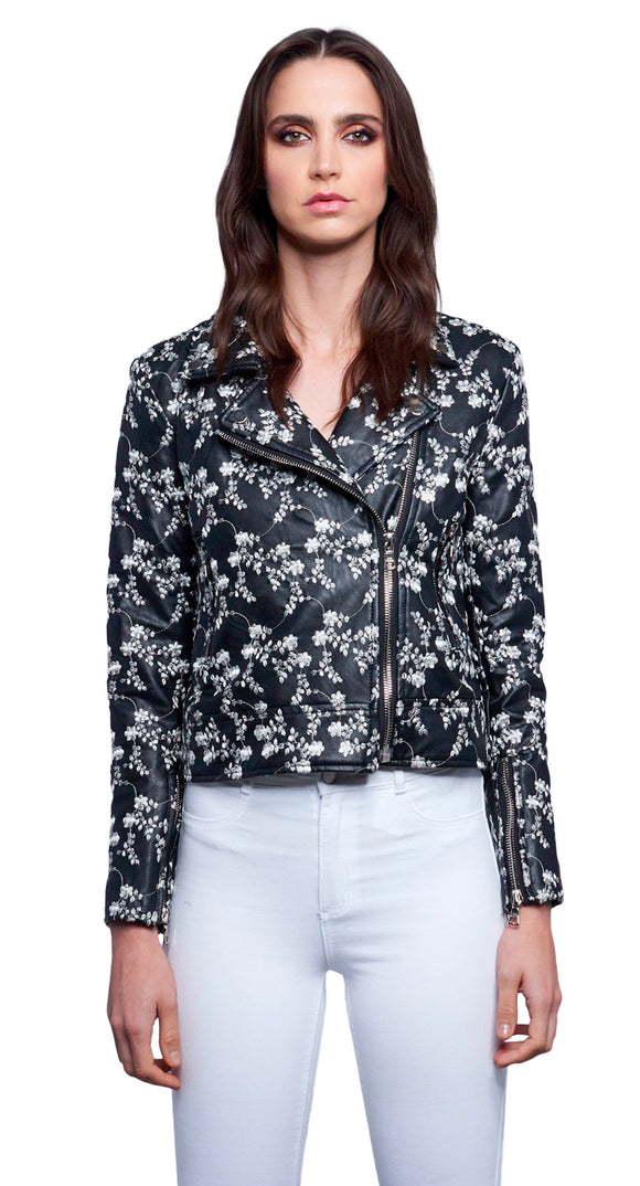 Dauntless White Floral Embroidered Biker Jacket