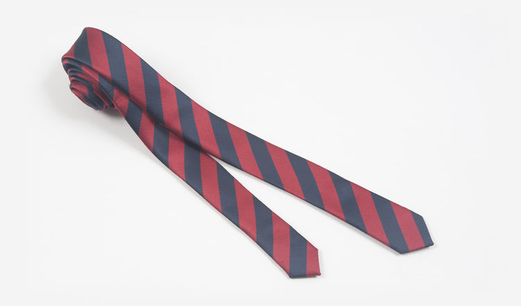 "1.5"" Red and Navy Blue Striped Woven Microfiber Skinny Tie"