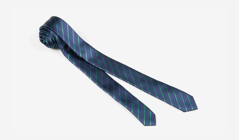 "1.5"" Navy Blue and Green Striped Woven Microfiber Skinny Tie"