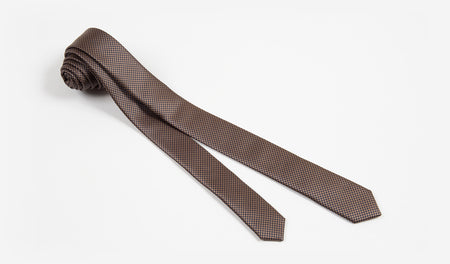 "1.5"" Brown and Black Woven Microfiber Skinny Tie"