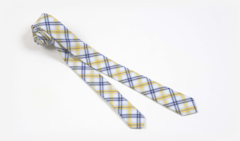 "1.5"" White Blue and Yellow Cotton Plaid Skinny Tie"