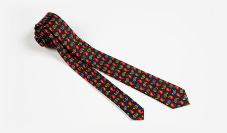 "2"" Black with Gold and Red Paisleys Silk Skinny Tie"