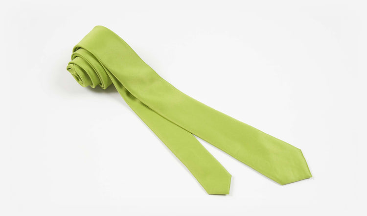 "2"" Apple Green Solid Satin Hand Made Microfiber Skinny Tie"