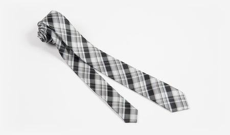 "2"" Black and Silver Woven Plaid Hand Made Microfiber Skinny Tie"