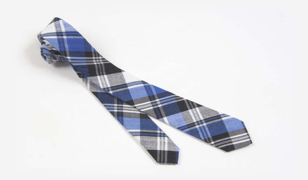 "2"" Blue, Gray, Black and White Cotton Plaid Skinny Tie"