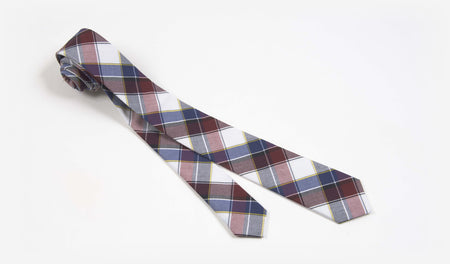 "2"" Red, Blue, Gray, Black, White and Yellow Cotton Plaid Skinny Tie"