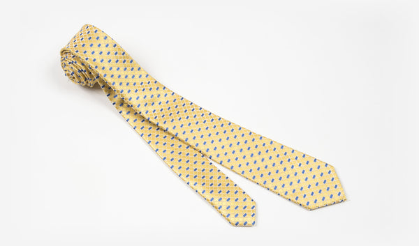 "2.25"" Yellow Blue and White Woven Skinny Tie"