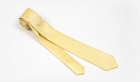 "2.25"" Yellow and White Woven Skinny Tie"