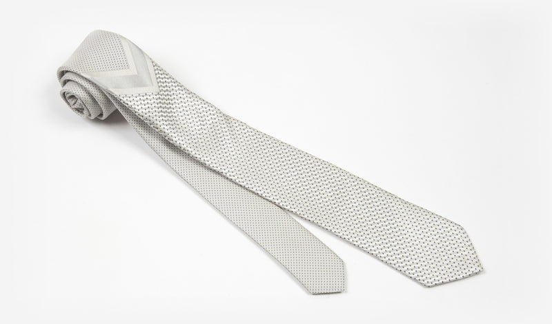 "2.25"" Silver and Gray Woven Skinny Tie"