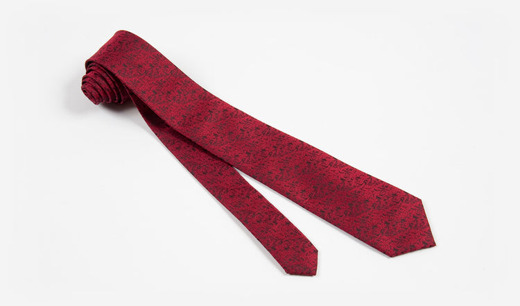 "2.5"" Red Patchwork Woven Microfiber Retro Skinny Tie"