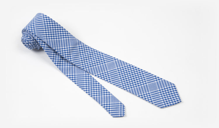 "2.5"" White and Blue Checked Cotton Skinny Tie"