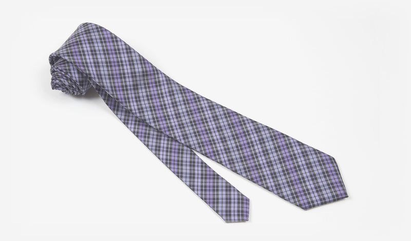 "2.75"" Purple and Black Plaid Woven Skinny Tie"