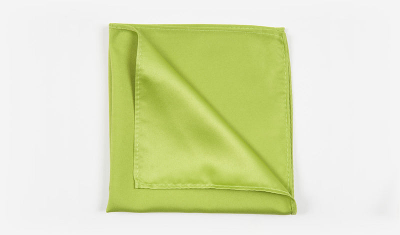 "12"" Apple Green Solid Satin Pocket Square"