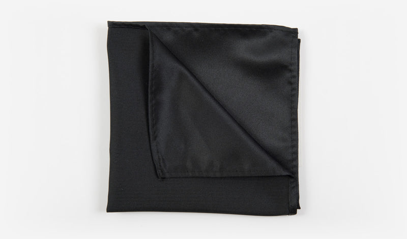 "10"" Black Solid Satin Pocket Square"
