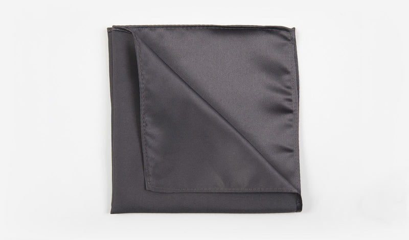 "12"" Charcoal Gray Solid Satin Pocket Square"