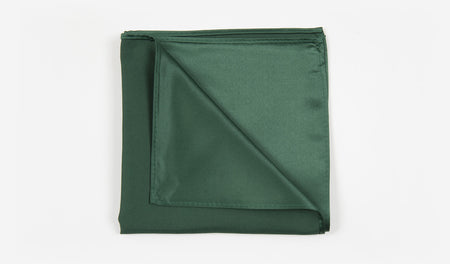 "12"" Forest Green Solid Satin Pocket Square"