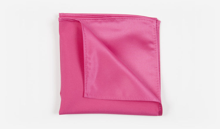 "12"" Fuchsia Solid Satin Pocket Square"