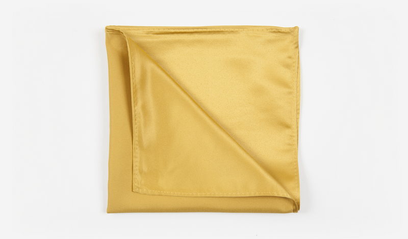 "12"" Gold Solid Satin Pocket Square"
