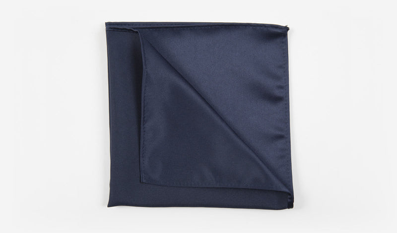 "12"" Navy Blue Solid Satin Pocket Square"