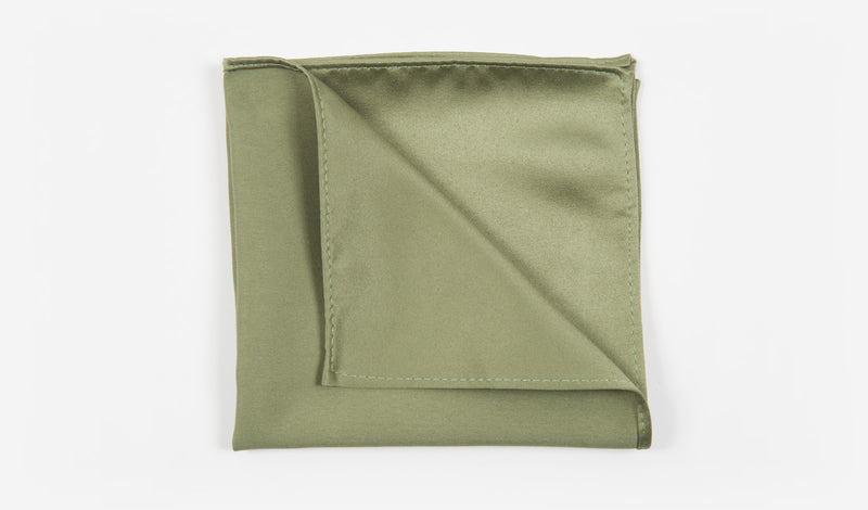 "10"" Olive Green Solid Satin Pocket Square"