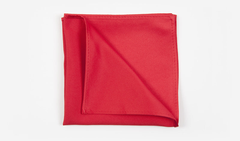 "12"" Red Solid Satin Pocket Square"