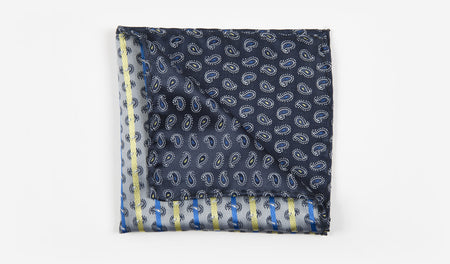 "10"" Navy Blue with Yellow, White, and Blue Paisleys Pocket Square"