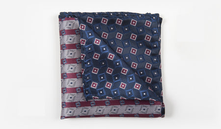 "10"" Navy Blue with Burgundy, Blue, and Silver Geometrics Pocket Square"