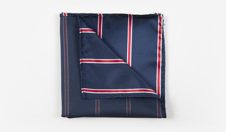 "10"" Navy Blue with Red and White Striped Pocket Square"