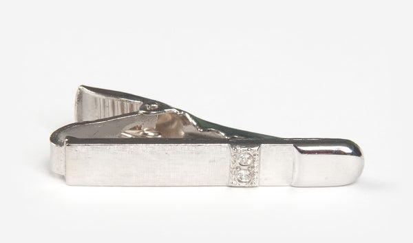 "1.25"" Silver Bullet with Two Gems Tie Bar"